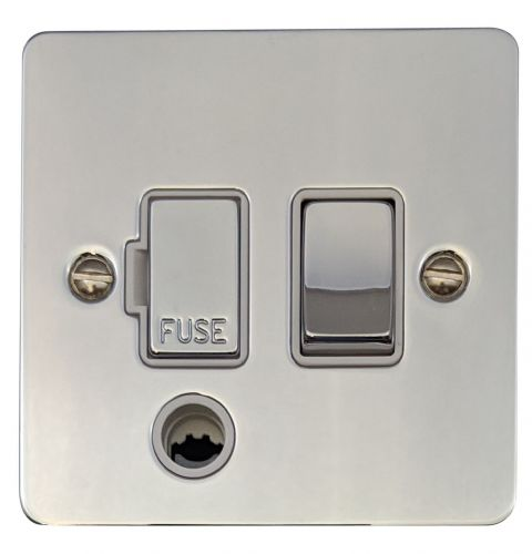 G&H FC256 Flat Plate Polished Chrome 1 Gang Fused Spur 13A Switched & Flex Outlet